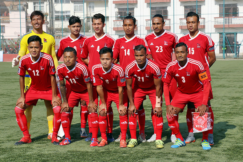 Nepal national football team before the match. Photo: RSS