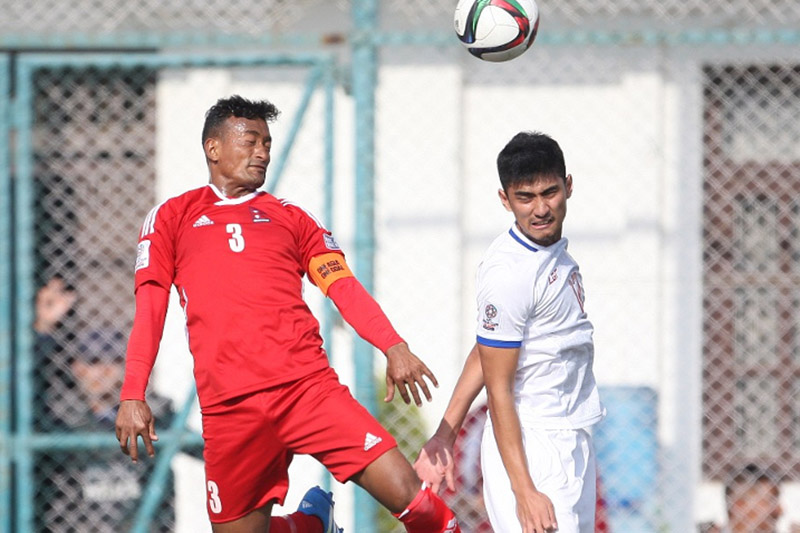 Nepai skipper Biraj Maharjan vies for a ball during AFC Asian Cup Qualifier played at the Halchowk stadium, on Tuesday, November 14, 2017. Courtesy: AFC