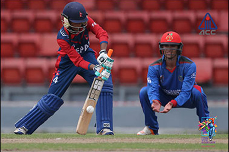 Nepali player bats against Afghanistan during ACC U-19 Youth Asia Cup at Kinrara Oval in Malaysia, on Friday, November 17, 2017. Courtesy: ACC