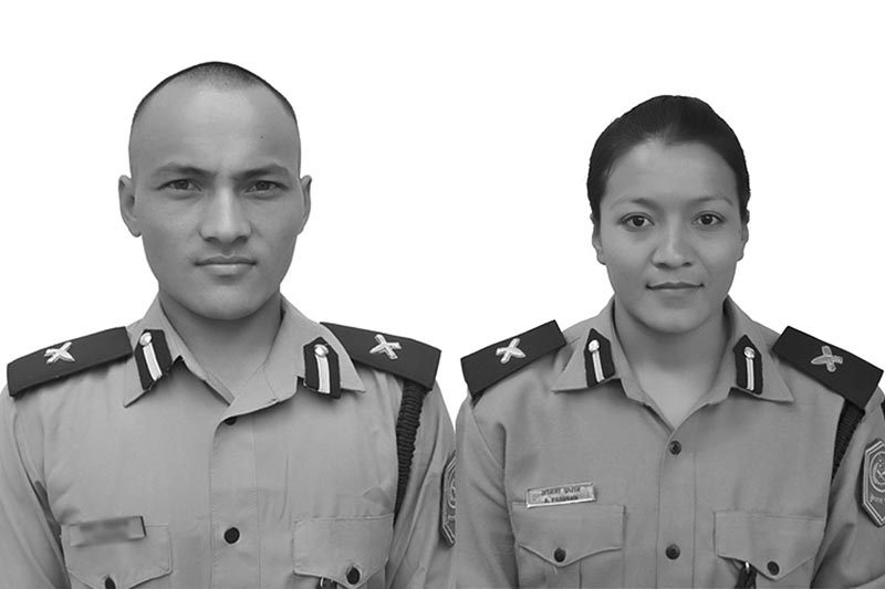 Newly-wed Couple Police Inspectors Nabin Shrestha (left) and Anita Pradhan. The Couple were killed in the jeep accident in Rukum, on Friday, November 24, 2017. Photo courtesy: Nepal Police