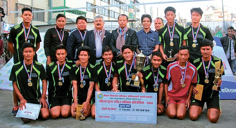 Newton High School team members celebrate with officials after winning the first PABSON U-18 National Volleyball Tournament in Kathmandu on Monday. Photo: THT