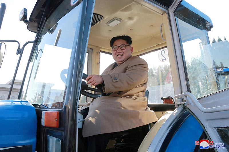 North Korean leader Kim Jong Un gives field guidance to the Kumsong Tractor Factory in this undated picture provided by KCNA in Pyongyang on November 15, 2017. Photo:  KCNA via Reuters