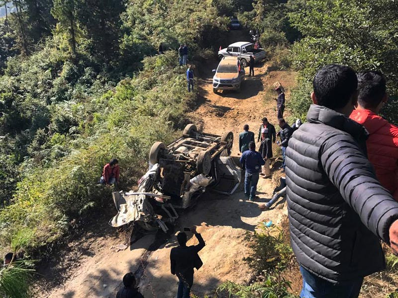 The vehicle carrying Nepali Congress cadres lying upside down after a pressure cooker bomb exploded just 500 metres from the vehicle carrying NCu2019s Ram Sharan Mahat while he was on his way to Kakani, in Nuwakot, on Friday, November 17, 2017. Photo: THT