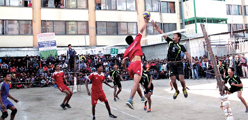 Players of Newton High School and Little Buddha Academy in action during their semi-final match of the first nPABSON U-18 National Volleyball Tournament in Kathmandu on Saturday.