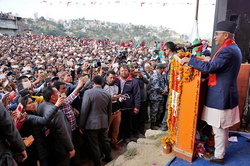 PM and NC President Sher Bahadur Deuba addresses an election rally at Amargadhi, district headquarters of Dadeldhura district, on Thursday, November 16, 2017. Photo: RSS