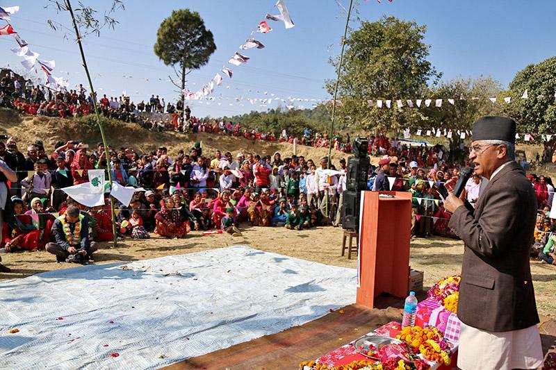 PM Sher Bahadur Deuba addressing a election meet at Aamarmeru in Dadeldhura district, on Sunday, November 19, 2017. Photo: RSS
