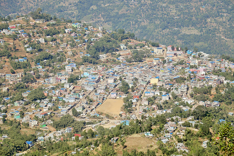 A view of Phidim, district headquarters of Panchthar, as seen from Ramite danda in Phidim Municipality-2, on Thursday, November 23, 2017. Photo: RSS