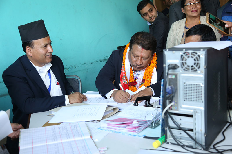 Nepali Congress leader Prakash Man Singh filing his nomination for the upcoming polls at the Election Office in Kathmandu, on Thursday, November 02, 2017. Photo: RSS