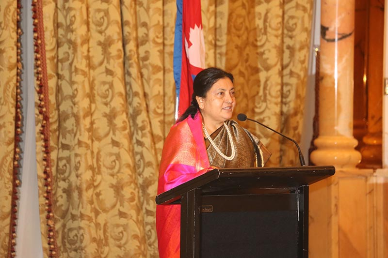 President Bidya Devi Bhandari addresses a dinner reception hosted in her honour by the Embassy of Nepal in Abu Dhabi, United Arab Emirates, on Wednesday evening, November 15, 2017. Photo: RSS