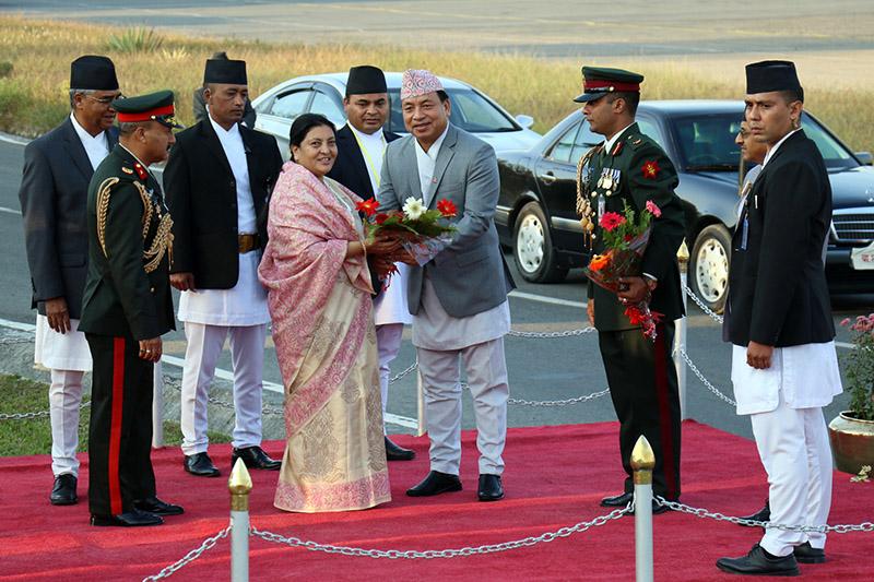 Vice President Nanda Bahadur Pun bids farewell to President Bidya Devi Bhandari at Tribhuvan International Airport in Kathmandu, on Monday, November 13, 2017. Photo: RSS