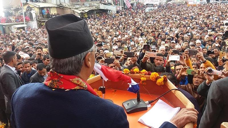 Prime Minister Sher Bahadur Deuba addressing a mass gathering, in Bagkhor, Dadeldhura, on Thursday, November 16, 2017. Photo: THT