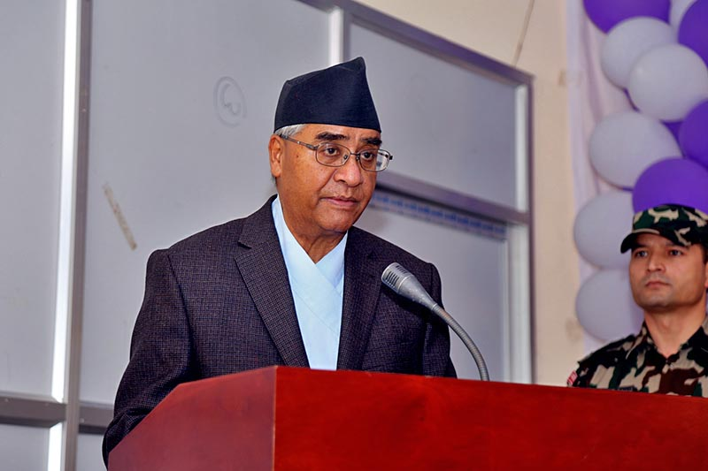 Nepali Congress President and Prime Minister Sher Bahadur addressing the province level seminar on security in Lamki of Kailali district, on Wednesday, November 15, 2017. Photo: RSS