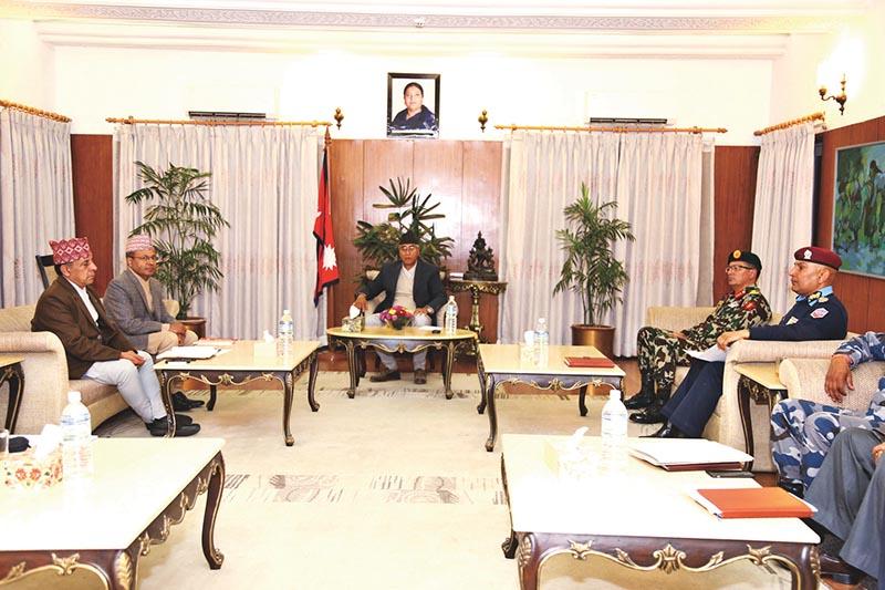 Prime Minister Sher Bahadur Deuba attending a meeting of the Security Council in Baluwatar, Kathmandu, on Wednesday, November 29, 2017. Photo: THT