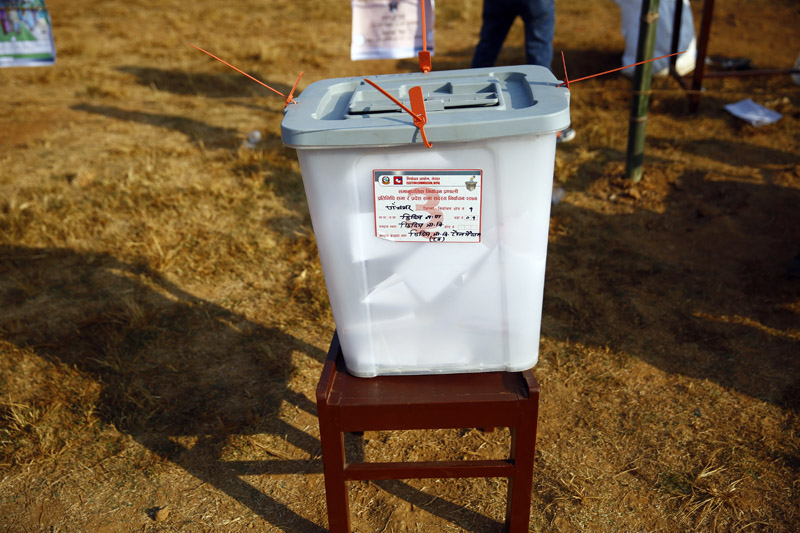 A ballot box is pictured at a polling station under the first phase of the parliamentary and provincial elections at a secondary school ground in Phidim Municipality, the headquarters of the Panchthar district, on Sunday, November 26, 2017. Photo: Skanda Gautam