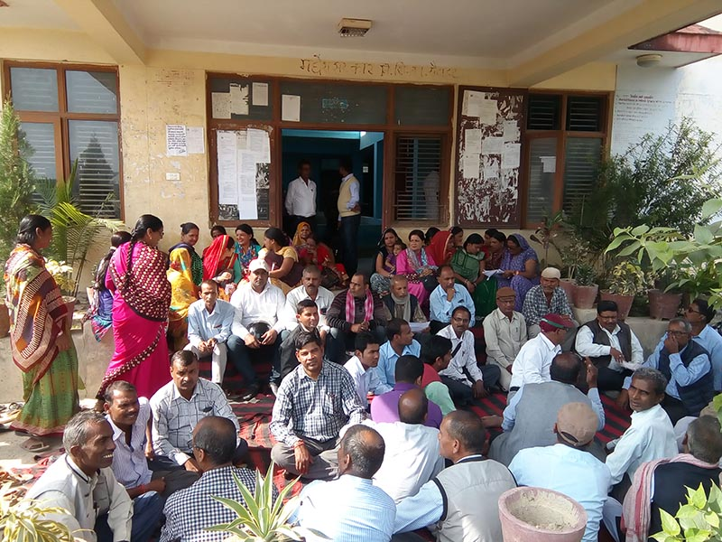 Teachers from community schools in Rautahat staging a sit-in protest demanding salary, at the  District Education Office, Gaur, on Tuesday, November 14, 2017. Photo: THT