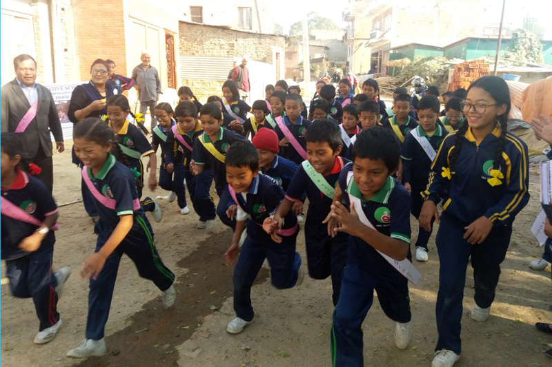 Students participate in 'Run for My School' campain, organised in Lalitpur, on Saturday, November 19, 2017. Photo: Global Action Network