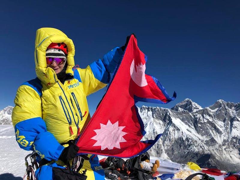 Sabrina Filzmoser at the summit of Ama Dablam. Photo courtesy: Mingma David Sherpa