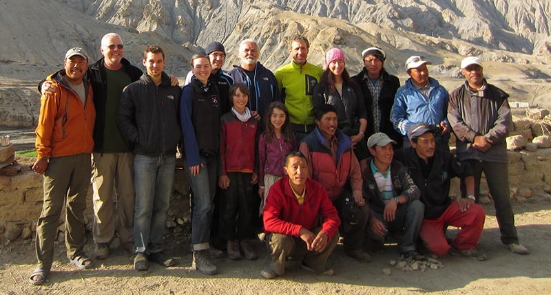 A team of archaeologists, geneticists, professional mountain climbers, expert guides, porters, journalists, and a medical doctor pose for a group photo of the 2012 expedition to Samdzong, Nepal. Photo courtesy: Mark Aldenderfer