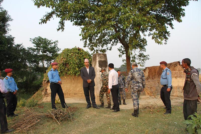 A team of district security chiefs on Nepal-India border taking stock of security situation, in Saptari, on Friday, November 24, 2017. Photo: THT