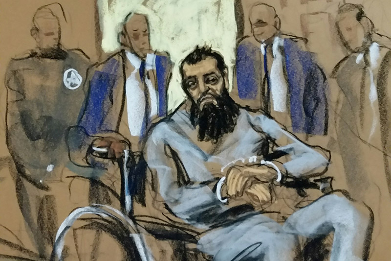 Sayfullo Saipov, the suspect in the New York City truck attack, is seen in this courtroom sketch appearing in Manhattan federal courtroom in a wheelchair in New York, NY, US, November 1, 2017.  Photo: Reuters