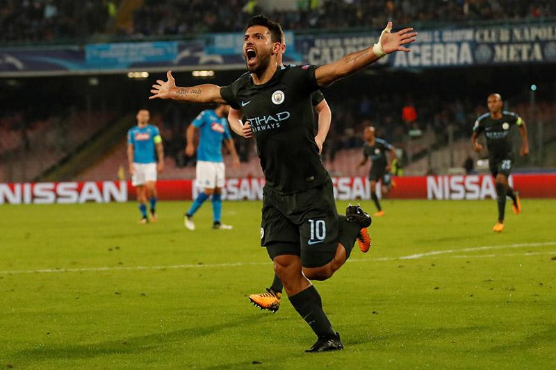 Manchester City's Sergio Aguero celebrates scoring their third goal. Photo: Reuters