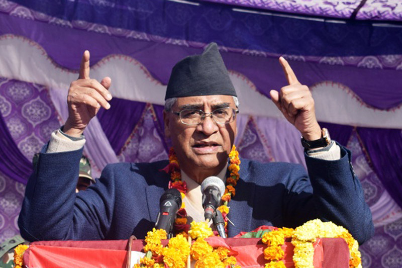 PM Sher Bahadur Deuba speaking at an election rally in Rukum, on Thursday, November 23, 2017. Photo: RSS