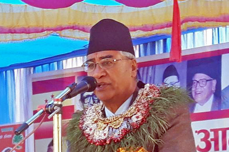 PM and Nepali Congress President Sher Bahadur Deuba addresses an election rally in Jhapa district, on Monday, November 27, 2017. Courtesy: NC