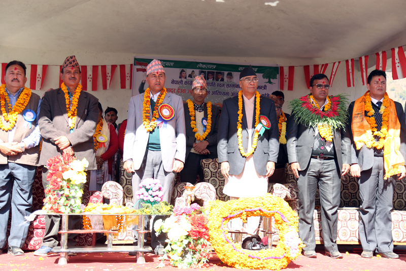 Prime Minister and Nepali Congress President Sher Bahadur Deuba taking part in an election meeting organised in Martadi of Bajura district,on Saturday, November 18, 2017. Photo: RSS