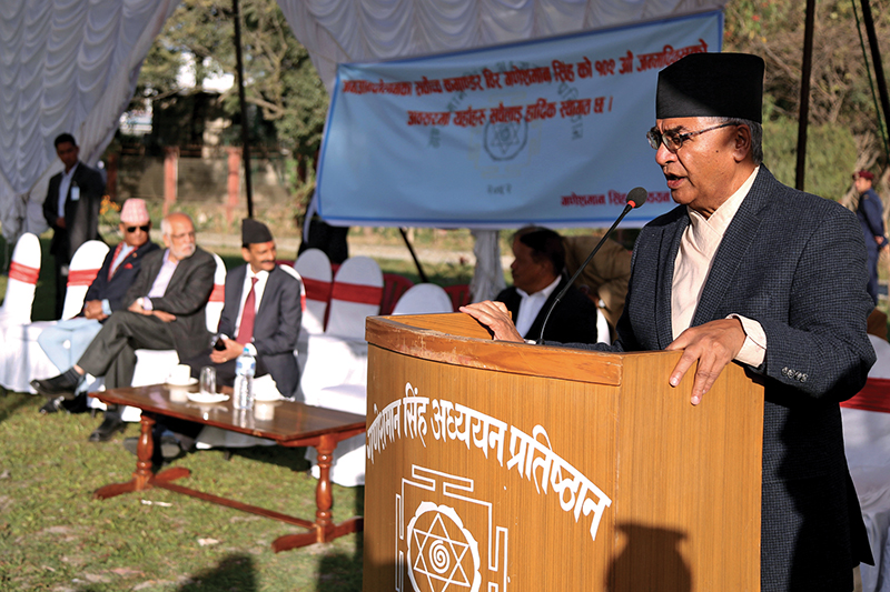 Prime Minister Sher Bahadur Deuba speaking at a programme in Kathmandu, on Friday, November 10, 2017. Photo: RSS