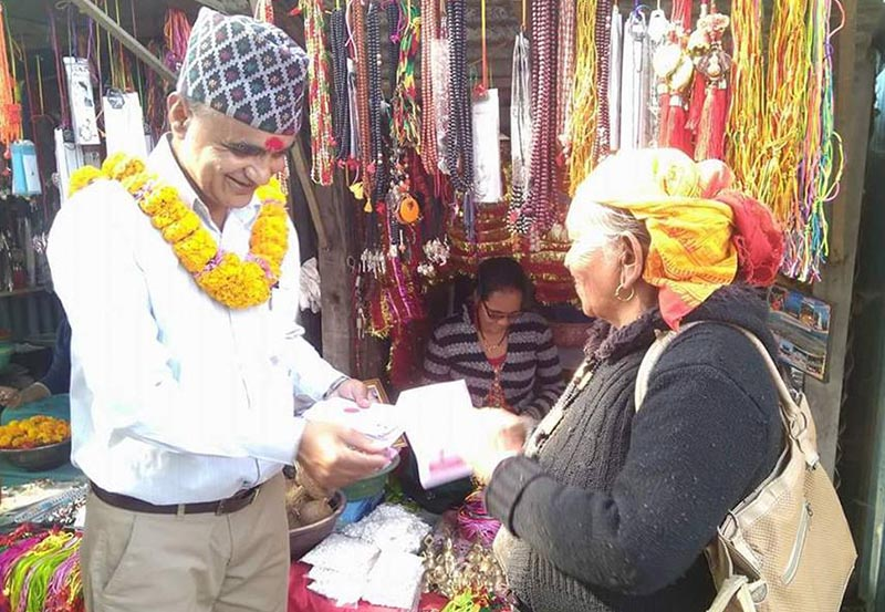 Surkhet constituency-2 u2018Kau2019  candidate of the left alliance Yamlal Kandel canvassing in Pipara, on Thursday, November 16, 2017. Photo: THT.