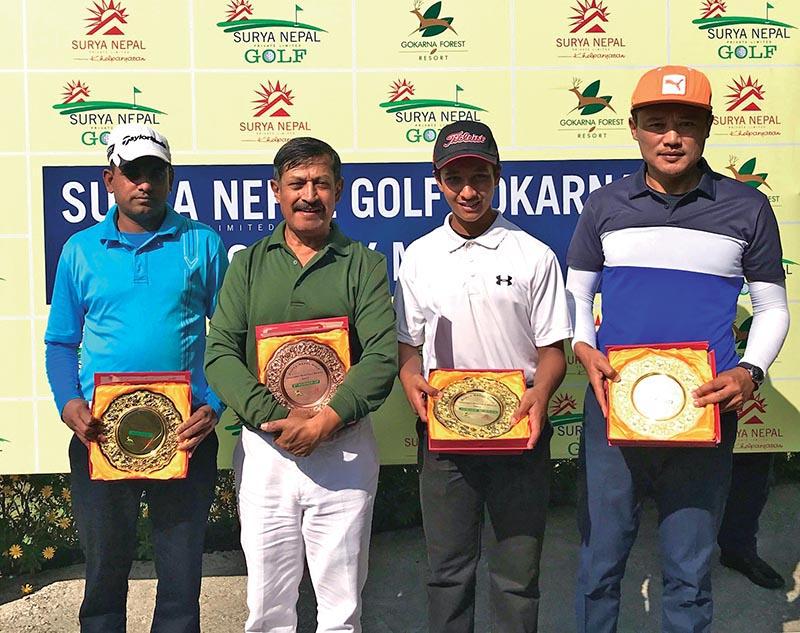 (From left) Rabindra Tiwari, Gopal Chitrakar, Mayank Dahal and Wangchen Dhondup after the Surya Nepal Gokarna Monthly Medal Golf Tournament in Kathmandu on Saturday.
