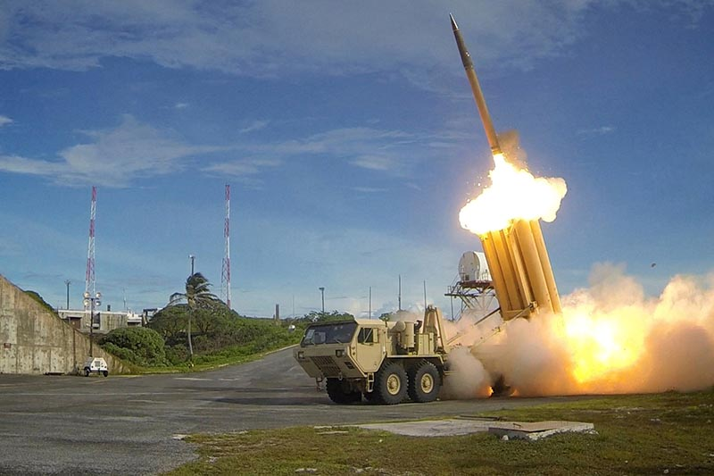 A Terminal High Altitude Area Defense (THAAD) interceptor is launched during a successful intercept test, in this undated handout photo provided by the US Department of Defense, Missile Defense Agency.  Photo: US Department of Defense, Missile Defense Agency/Handout via Reuters/