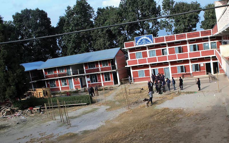 Banujan Secondary School, which is also a polling centre, where a bomb went off creating panic among locals and election officials in Taplejung, on Saturday, November 25, 2017. Photo: THT