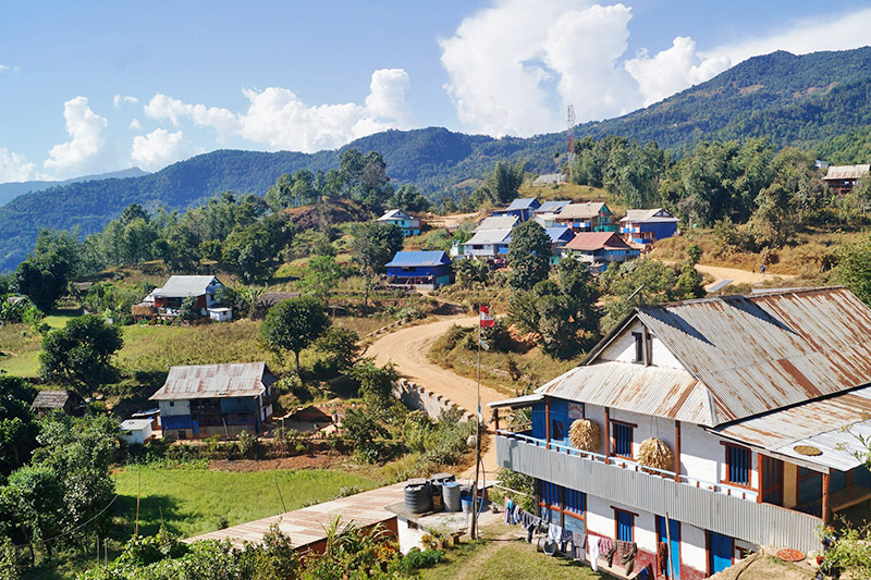 A newly extended settlement in Chuhandanda in Aathrai Municipality-6 after the construction of Mid-Hilly Highway in Tehrathum District, on Sunday, November 05, 2017. Photo: RSS