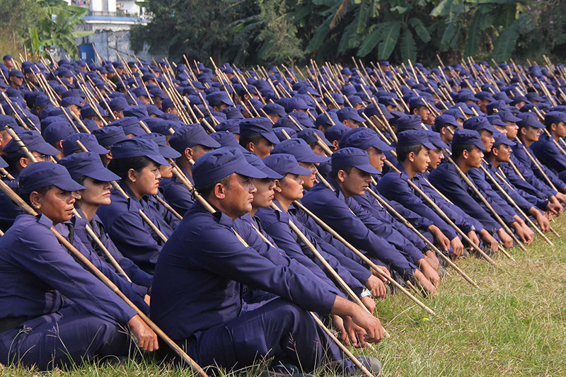 Temporary police personnel, after a trainning session, for upcoming polls, in Pokhara, on Thursday, November 16, 2017. Photo: Bharat Koirala