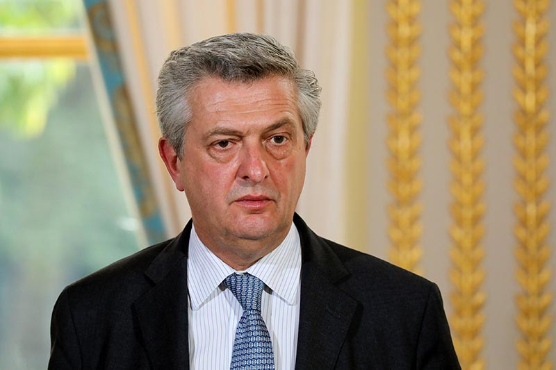 UN High Commissioner for Refugees (UNHCR) Filippo Grandi speaks during a joint press conference with the French President following their meeting at the Elysee Palace in Paris, France, on October 9, 2017. Photo: Reuters