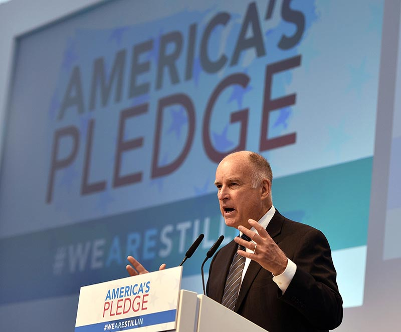 California Governor Jerry Brown speaks in the US Climate Action Center at the COP 23 Fiji UN Climate Change Conference in Bonn, Germany, on Saturday, November 11, 2017. Photo: AP