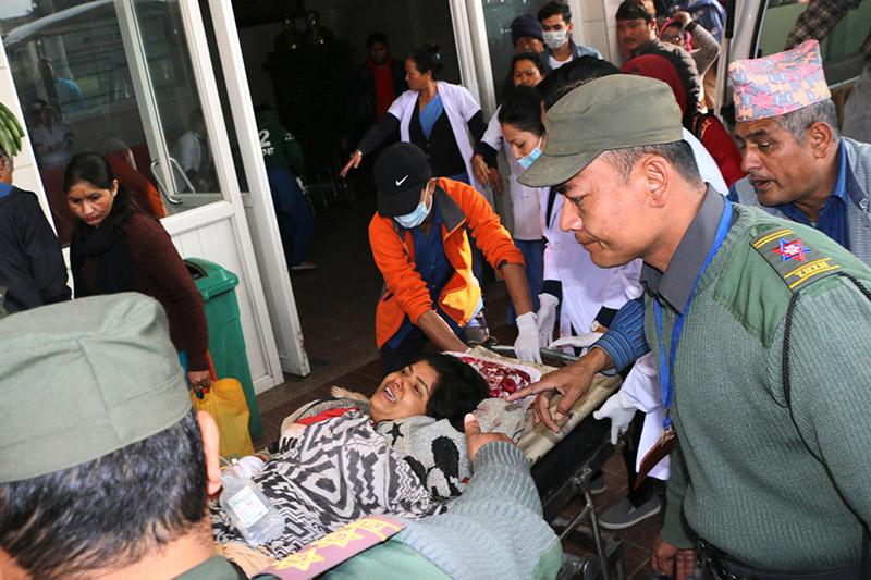 Udayapur ambush victims being brought to TU Teaching Hospital for treatment in Kathmandu, on Wednesday, November 29, 2017. Photo: RSS