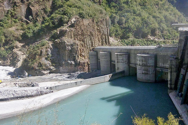 One of the national pride projects Upper Tamakoshi Hydro Power Project's dam in Dolakha district, on Tuesday, November 21, 2017. By this time next year, the project would be generating 456 megawatt electricity. Photo: RSS