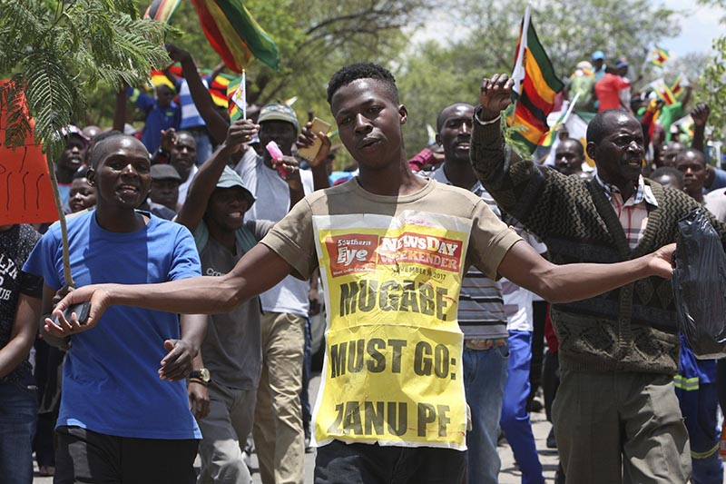 Hundreds gather to demand the departure of President Robert Mugabe after nearly four decades in power, in Bulawayo, Zimbabwe, on Saturday, November 18, 2017. Photo: AP