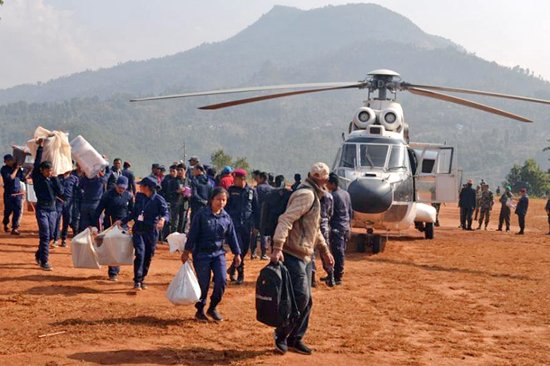 A helicopter being used to bring ballot boxes from a remote villages to Dhadingbesi, district headquarters, in Dhading, on Monday, November 27, 2017. Photo: Keshav Adhikari
