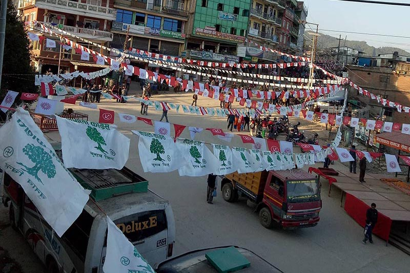 A major thoroughfare wears a colourful look with election publicity materials  placed by political parties in violation of the election code of conduct, in Charikot, Dolakha, on Wednesday, November 22, 2017. Photo: THT