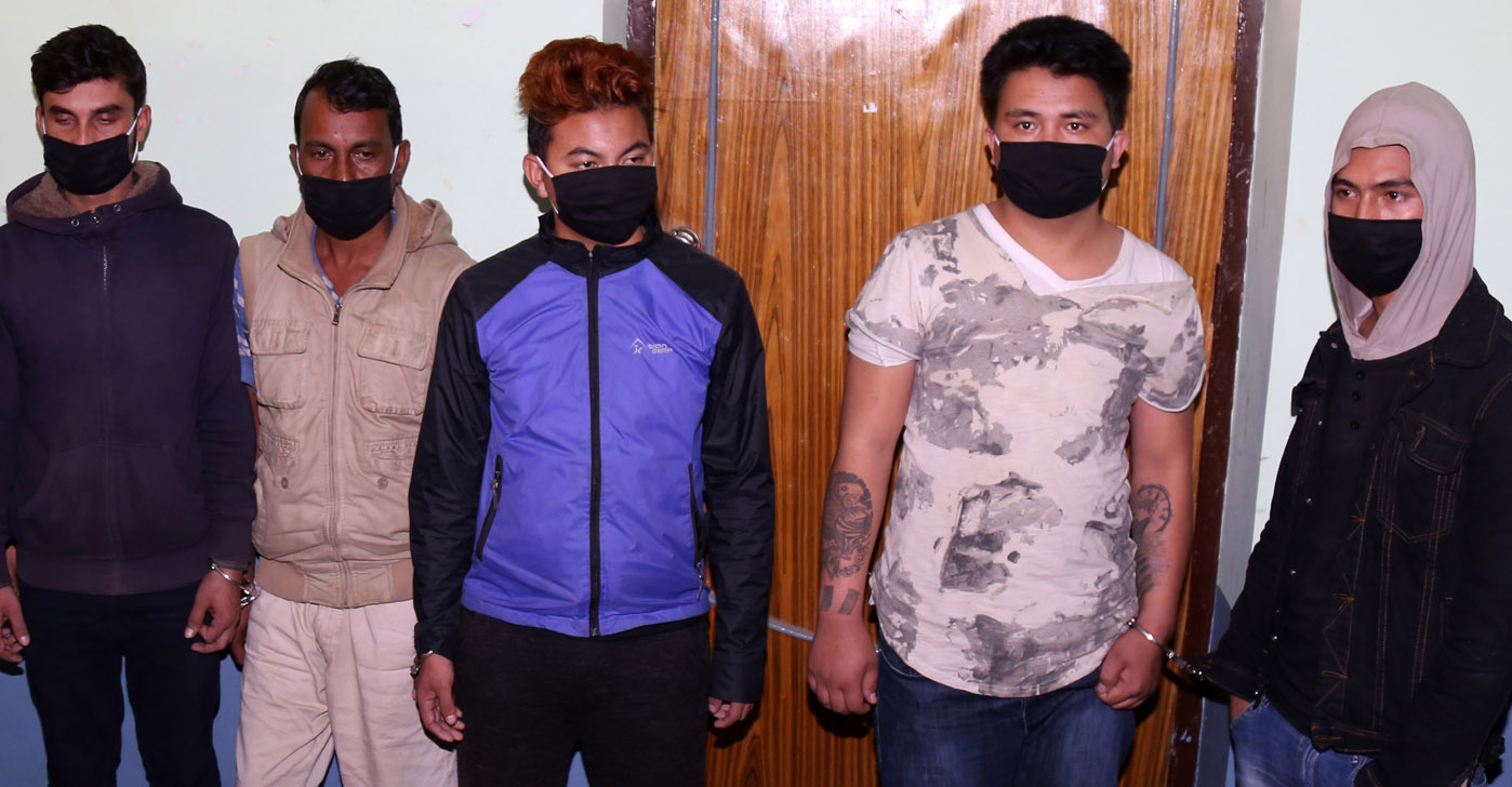 The murder suspects of contractor Sharad Kumar Gauchan being made public today in Kathmandu, on Tuesday, November 14, 2017. Photo: RSS