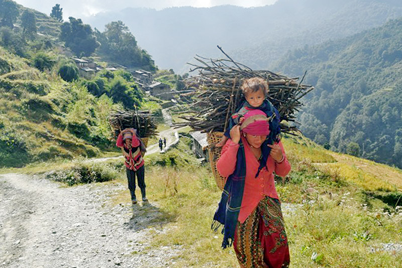 Villagers returning home after collecting woods from a nearby forest at a rural village in Myagdi district, on Thursday, November 02, 2017. Photo: RSS