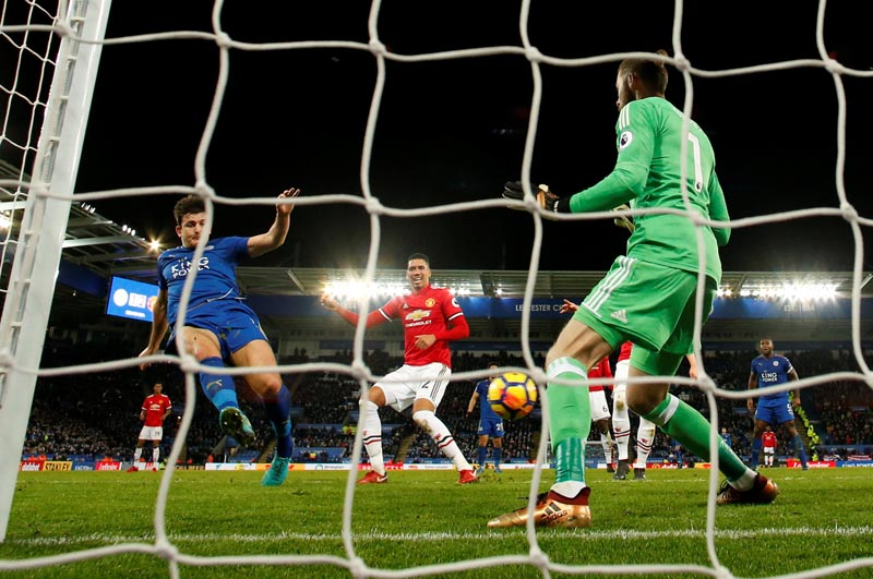 Leicester City vs Manchester United - King Power Stadium, Leicester, Britain - December 23, 2017   Leicester City's Harry Maguire scores their second goal. Photo: Reuters