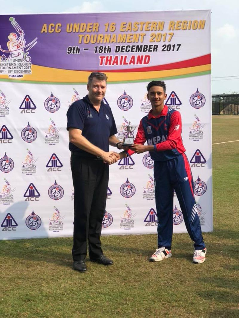 Nepal skipper Rit Gautam receiving the man of the match trophy after their ACC U-16 Asia Region Cricket Tournament match against Myanmar in Bangkok on Thursday, December 14, 2017. Photo courtesy: CAT