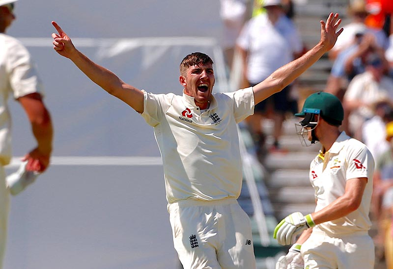 England's Craig Overton appeals for LBW to dismiss Australia's Cameron Bancroft during the second day of the third Ashes cricket test match during the Ashes test match between Australia and England, at WACA Ground, Perth, in Australia, on December 15, 2017. Photo: Reuters