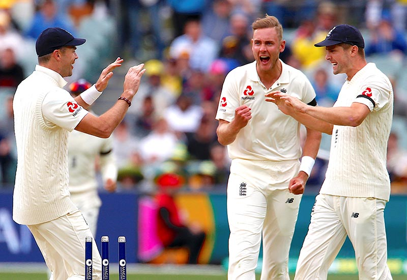 England's Stuart Broad reacts with team mates after Australia's Cameron Bancroft is run out during the first day of the second Ashes cricket test match between Australia and England, at Adelaide Oval, in Adelaide, Australia, on December2, 2017. Photo: Reuters