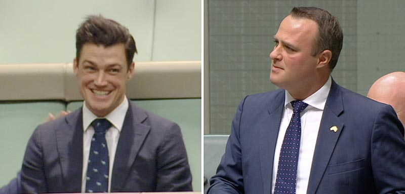 In this combination of images made video from Australia's Parliament TV, Australian lawmaker Tim Wilson, right, proposes to his gay partner Ryan Patrick Bolger, who was sitting in the public gallery, at Parliament in Canberra, Australia, on Monday, December 4, 2017. Photo: Parliament TV via AP