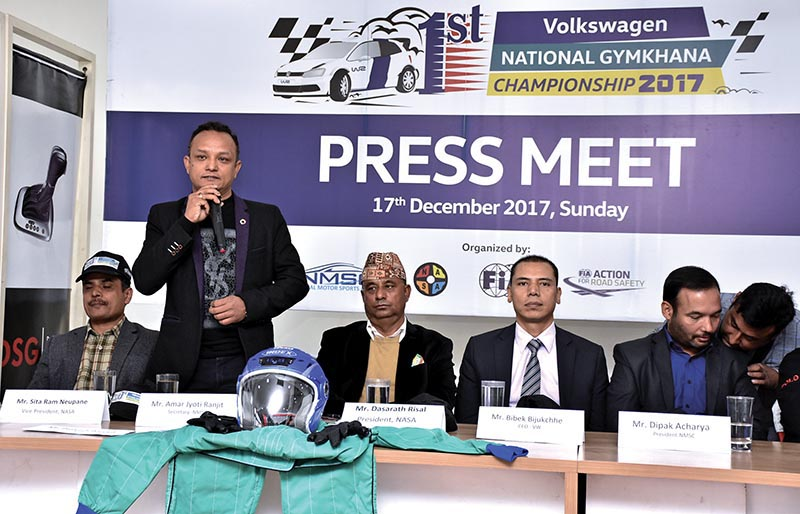 NMSC Secretary Amar Jyoti Ranjit speaks as other officials  looks on during a press meet in Kathmandu, on Sunday. Photo: THT